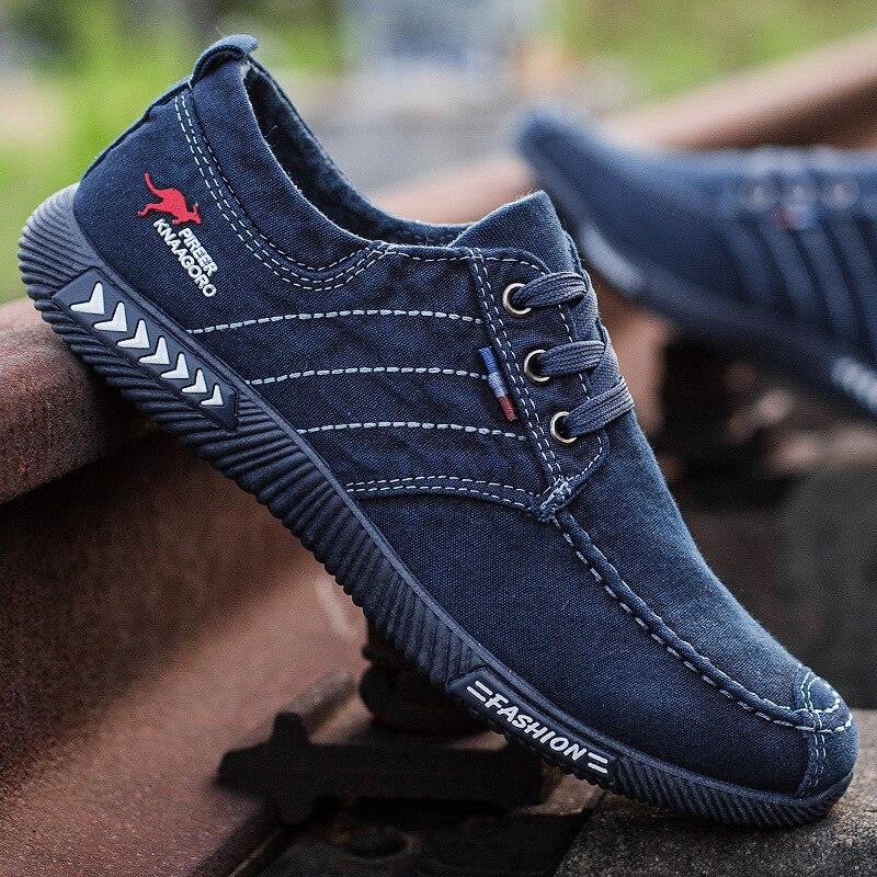 Men Shoes 2020 Spring Men Canvas Shoes Flat Casual Shoes Lace Up Comfortable Breathable Shoes Man Flats Size 39 - 44