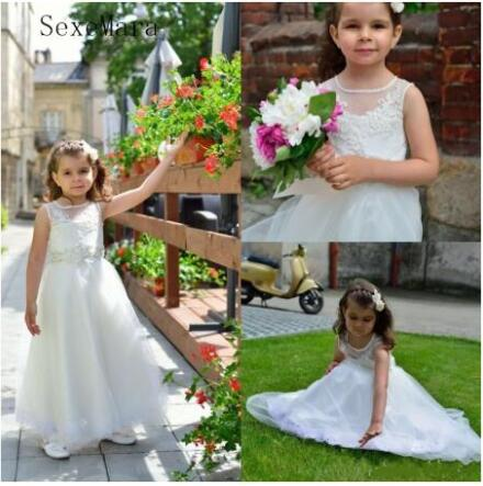 Beautiful Lace Floral Appliques   Flower     Girl     Dress   White/Ivory Kids Tulle Pageant Gown for Prom Party Communion