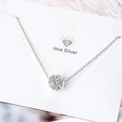 Simple 925 Sterling Sliver Round Transshipment beads Zircon Infinity Ball Pendant Necklace For Women Chain collares kolye