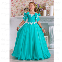 Dresses Flower-Gilr Gowns Lace Little-Girl Child Chiffon Bow Beaded Beautiful Vintage
