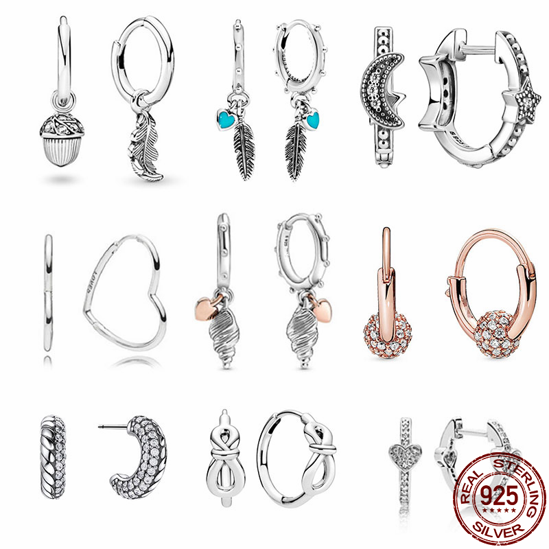 100% Real 925 Sterling Silver 11 Style Classics Heart Zircon Earrings Are Suitable as Birthday Gifts for Girls Fashion Jewelry