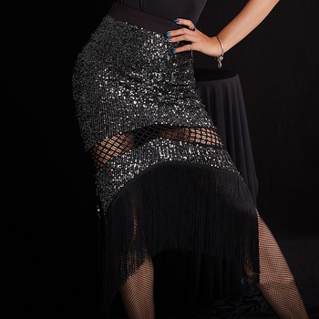 Latin Dance Skirt Black Sequined Fringe Skirts Tango Salsa Cha Cha Rumba Samba Show Clothing Ladies Performance Wear DNV12261