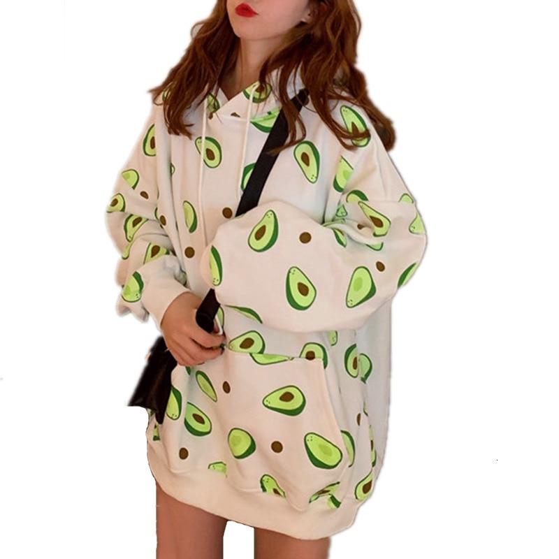 Avocado Print Hoodies Street Fashion Women Harajuku Kawaii Cartoon Sweatshirts Autumn Loose Pocket Hooded Pullover Top Plus XXL