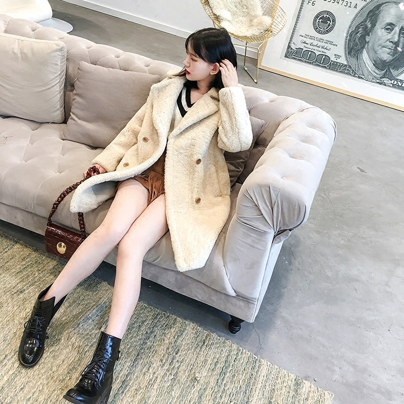 Real Fur Coat Women Winter Merino Sheep Fur Coats Warm Thickening Wool Fur Outwear High Quality Female Jacket MF306