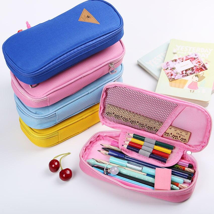Korean Style Candy Color Canvas Pencil Case Multifunction Stationery Storage Organizer Bag School Supply Escolar Papelaria 1 PC