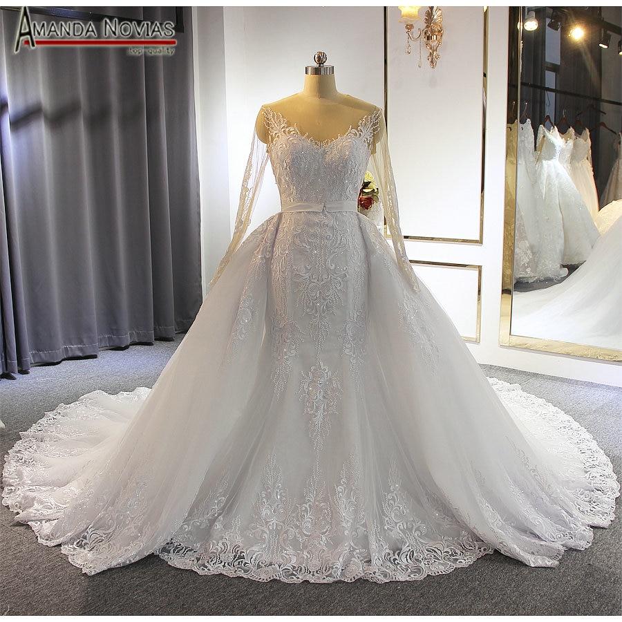 フォーマルドレスの花嫁人魚のレースのウェディングなスカートウェディングドレス   -