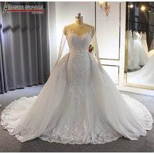 Vestito convenzionale vestito da sposa del merletto della sirena abito da sposa con staccabile pannello esterno