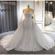 formal dress bride dress mermaid lace wedding dress with detachable skirt