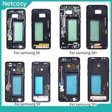 Netcosy para samsung s8 g950 s8 plus g955 quadro médio moldura placa habitação capa replacemenrt para samsung s9 g960 s9 mais g965