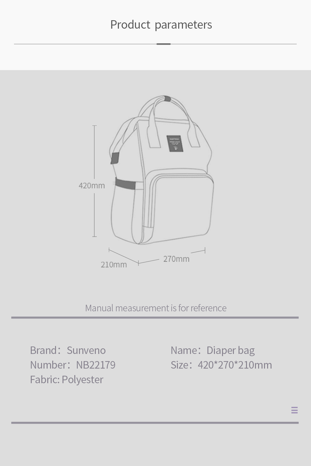 H44dbc03427e34858b24ee3adec853324d Sunveno Fashion Diaper Bag Backpack Quilted Large Mum Maternity Nursing Bag Travel Backpack Stroller Baby Bag Nappy Baby Care