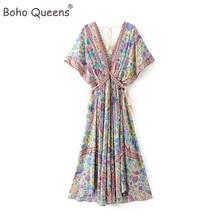 Boho Queens women peacock Floral print bat sleeve beach Bohemian  maxi dress Ladies V neck Tassel Summer dress vestidos