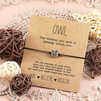 Coruja do vintage desejo pulseira liga sorte coruja pingente jóias ajustável desejo pulseira para mulheres homens amizade presente inspirador