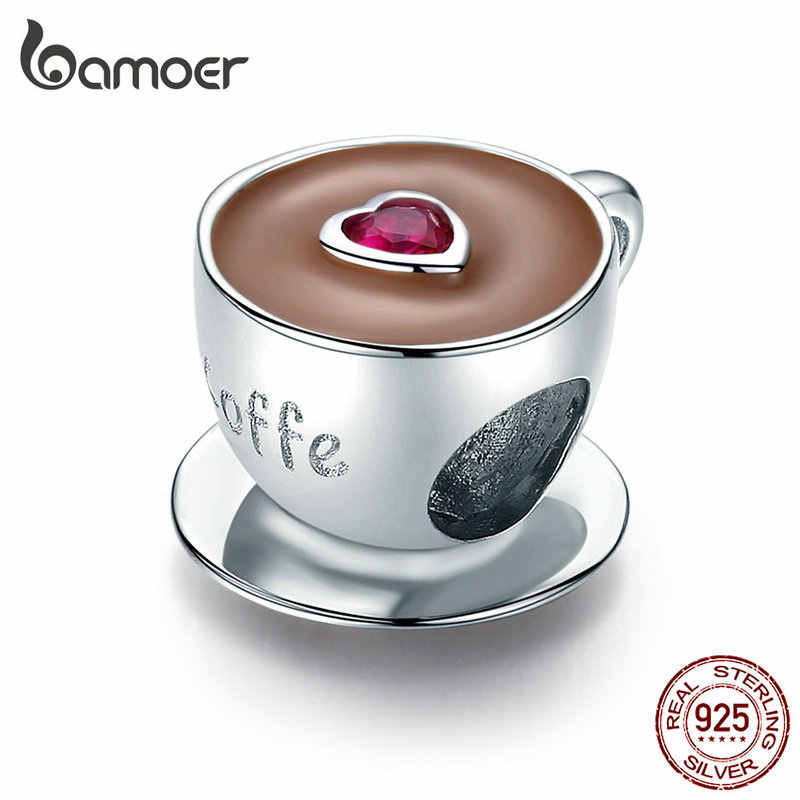 Bamoer Kaffee Tasse Metall Perlen für Frauen Europäischen Charme Armband 925 Sterling Silber Emaille Mode Charms Schmuck SCC1286