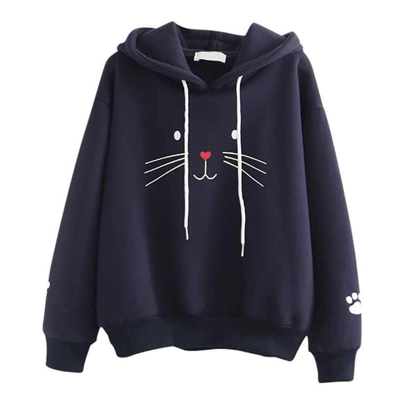 Klv 스웨터 하라주쿠 까마귀 패션 여성 탑 고양이 인쇄 셔츠 긴 소매 스웨터 여성 따뜻한 캐주얼 귀여운 느슨한 블라우스