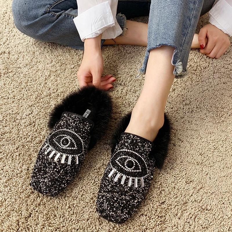 Designer Women Shiny Sequins Muller Shoes Brand Winter Faux Fur Female Eyes Applique Flats Girls Casual Outdoor Warm Flip Flop 25
