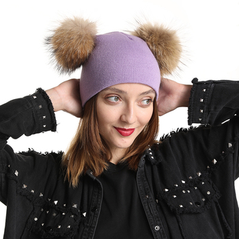 Cute Mother Baby Winter Hat Double Fur Pompom Cap Two Layers Knitted Warm Beanies Real Fur Pom Pom Hats For Women double real raccoon fur hat pom poms winter hat women wool knit beanie bobble cap pompom beanies gorros thick female caps w1