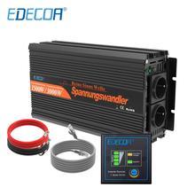 EDECOA 12 В 220 В Чистая синусоида Инвертор 1500 Вт 3000 Вт пиковый преобразователь с пультом дистанционного управления и 5 В 2.1A USB порт