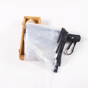 Image 3 - 透明全自動傘メンズレディース屋外折りたたみ高級クリア雨傘黒ピンクビッグ大女の子自動パラソル