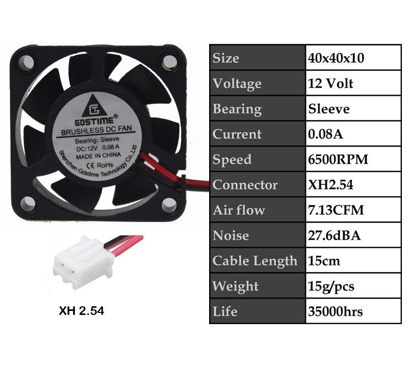 2 шт. Gdstime DC 5 в 12 В 24 в 40 мм x 40 мм x 10 мм 40 мм шарикоподшипник рукав мини маленькое охлаждение 4 см вентилятор 3d принтер охлаждающий вентилятор - Цвет лезвия: 12VSleeve0.08A
