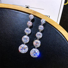 Luxury Female Crystal Drop Earrings With Zircon Stone 925 Sterling Silver Long Dangle Earrings For Women Vintage Wedding Jewelry(China)