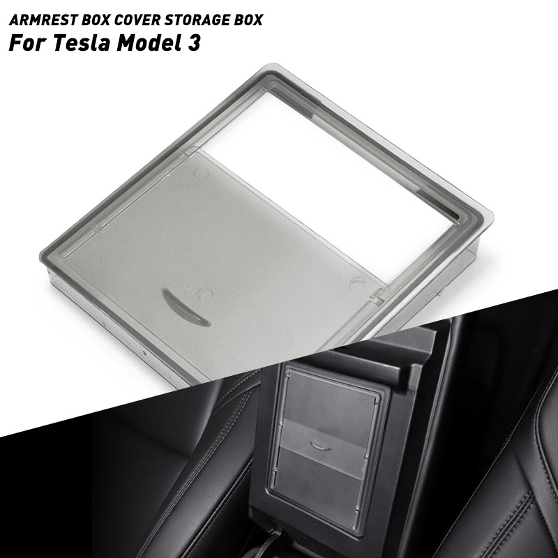 Car Armrest Box Storage Organizer Containers Transparent Hidden Holder Box For Tesla Model 3 2017 2018 2019 Accessories Storage