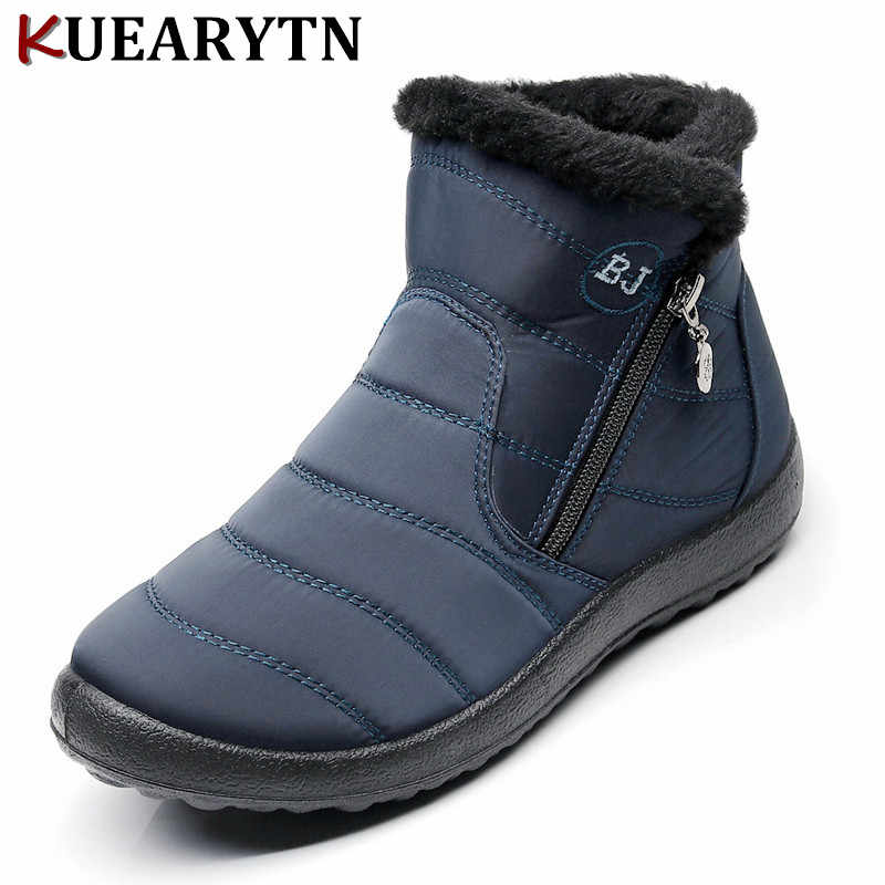 Plus size 35-43 2019 winter new snow boots female tube thick plush waterproof cotton boots side zipper women boots