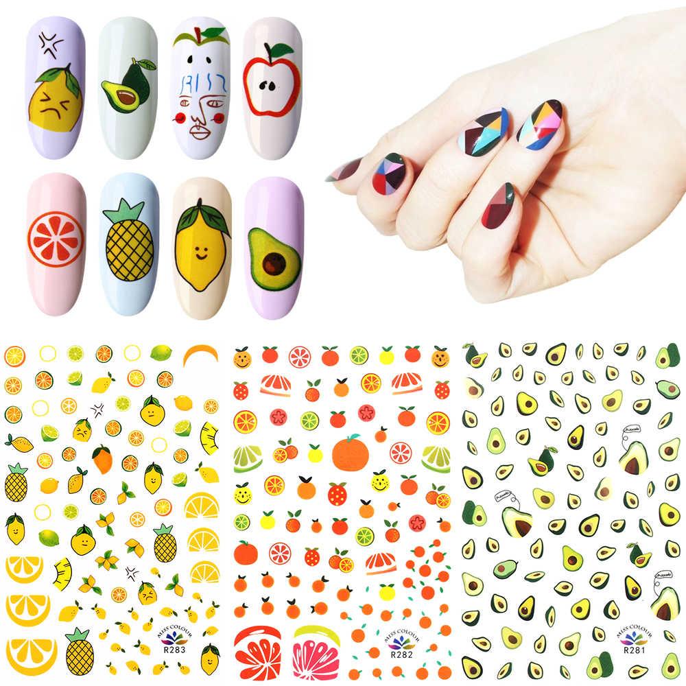 Folha Melancia Limão 1/Abacate/Padrão de Morango Prego Decalque Manicure Prego Decoração de Frutas de Verão 3D Transferência Da Arte do Prego adesivo