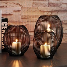 3pcs Hot Black Metal Hollow Like A Bird Cage Lantern Candle Holder Without LED Lights Romantic Home Hotel Decoration Ornaments