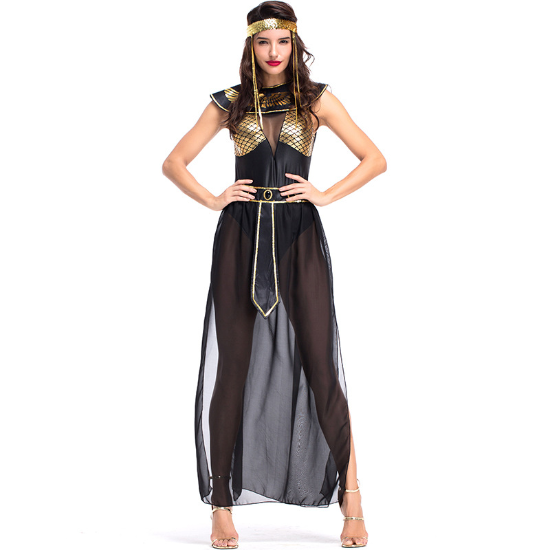 Carnival Party <font><b>Halloween</b></font> Egyptian Cleopatra Costume <font><b>Women</b></font> <font><b>Adult</b></font> Egypt Queen Cosplay Costumes <font><b>Sexy</b></font> Golden Fancy Dress image