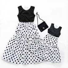 Mother Daughter Dresses Cake Summer Family Matching Clothes Polka Dot Look Mommy And Me Mom and