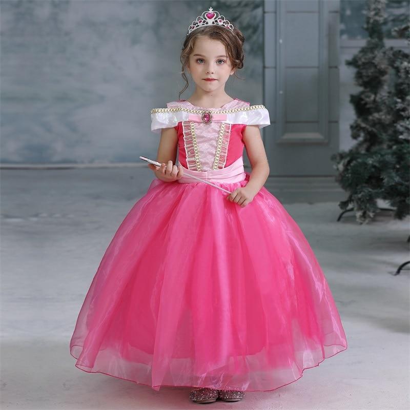 New Princess Dress Up Girls Cosplay Costume Kids Dresses for Girls Halloween Christmas Dress for Girls Snow 2 Dress Belle Beauty 5