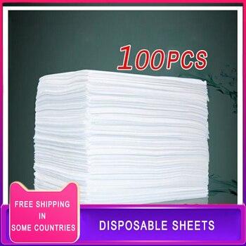 100 Uds 80x180cm sábanas desechables dormitorio sábanas para mesa de masaje salón de belleza Spa viaje Hotel grueso sábana de tela no tejida