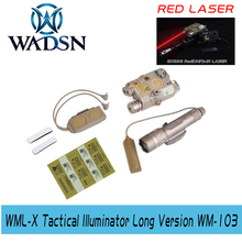 WADSN BLOCK III accessory kit includes LA 5C/PEQ 15 Red Dot Laser WMX 200 Tactical Flashlight Double Switch