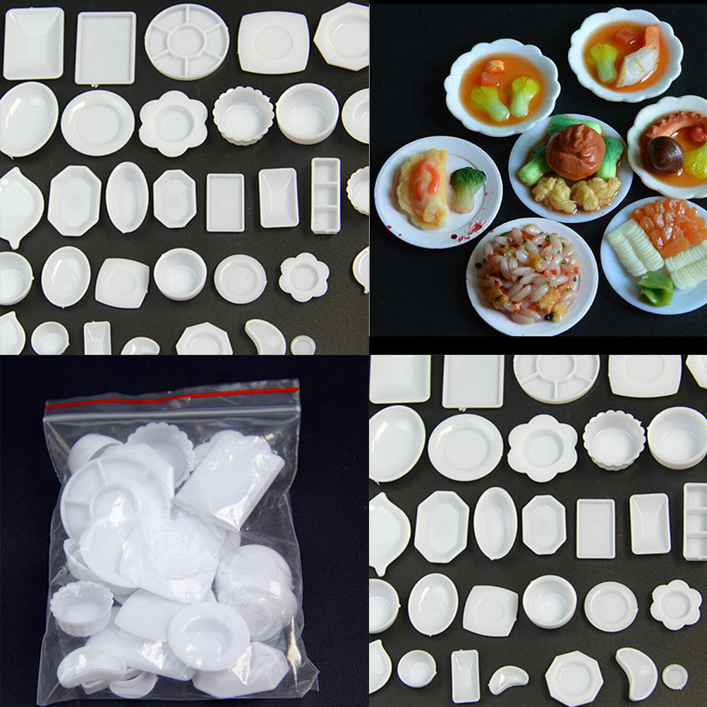 33 Pcs/Set Kitchen Mini Tableware Miniatures Cup Plate Dish Decor Toys For Kids Girls Gifts Doll Accessories