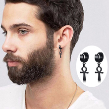 Drop Cross Earring Mens Egyptian Ankh Michael Hang Dangle Earrings Black Stainless Steel Male Punk Jewelry ancient ankh cross of horus egyptian jewelry male eagle