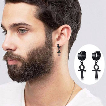 Drop Cross Earring Mens Egyptian Ankh Michael Hang Dangle Earrings Black Stainless Steel Male Punk Jewelry.jpg 350x350 - Drop Cross Earring Mens Egyptian Ankh Michael Hang Dangle Earrings Black Stainless Steel Male Punk Jewelry