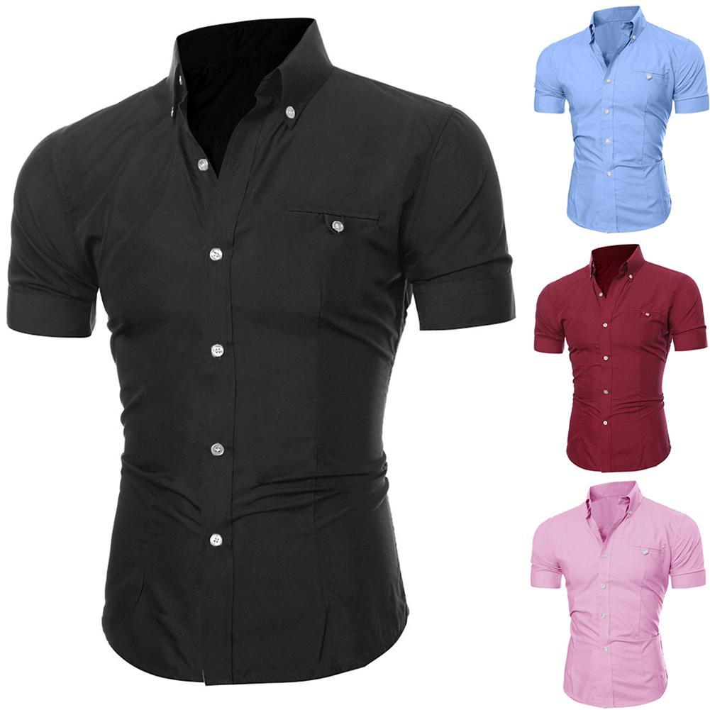 Fashion Men Shirts  Summer Solid Color Shirt Men Short Sleeve Turn Down Collar Shirt Blouse Top Male Men Dress Shirts  Camisas