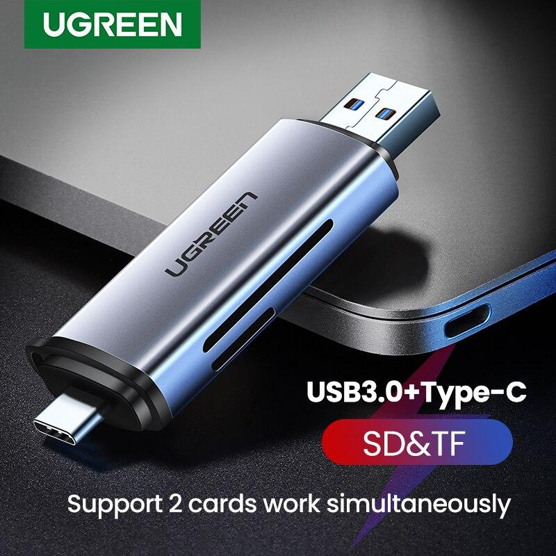 Leitor de cartão ugreen usb 3.0 & tipo c para sd micro sd tf leitor de cartão para computador portátil acessórios de memória inteligente cardreader leitor de cartão sd
