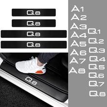 Car Styling 4Pcs Limiar Adesivos De Fibra De Carbono do Peitoril Da Porta Protector Decal para Audi A1 A2 A3 A4 A5 A6 A7 A8 Q1 Q2 Q3 Q4 Q5 Q6