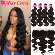 Малазийские волнистые пряди для тела с фронтальным 100% Remy человеческие волосы 3/4 пряди с фронтальным Miss Cara 13X4 кружевные фронтальные пряди