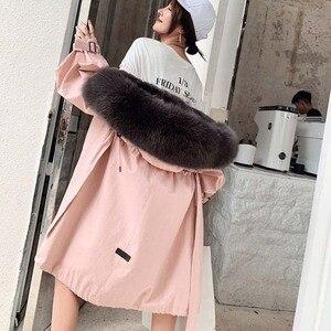 Женская зимняя куртка из меха кролика и лисы с отстегивающимся большим меховым воротником, новинка 2020, теплая Модная Высококачественная Же...