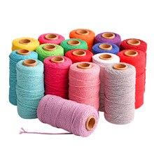 Веревка из 100 м/100 ярда, чистый хлопок, витой шнур, ручная работа, макраме, разноцветная веревка из хлопка, льняная веревка, домашний текстиль ...