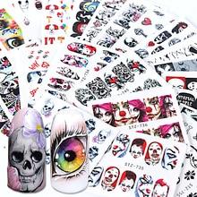 24pcs Black Skull Nail Wraps Water Decals Red Sliders Halloween Eyes Clown Zombie Decoration Manicure Tools Tattoo BESTZ731 755