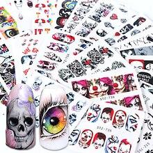 Envolturas negras para uñas, 24 Uds., calcomanías al agua, Ojos de Halloween, payaso, Zombie, decoración, herramientas de manicura, tatuaje, BESTZ731 755