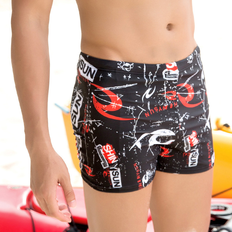 Shinysun Swimming Trunks Men's Boxer Briefs Large Size Fashion Men Sexy Hot Springs Breathable Quick-Dry Bathing Suit Swimming S
