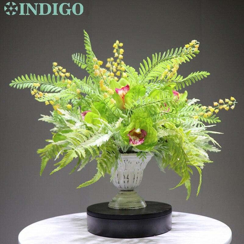 INDIGO conçu-1 ensemble bricolage Convallaria vert Cymbidium Arrangement de fleurs bonsaï Bouquet Table pièce maîtresse cadeau livraison gratuite