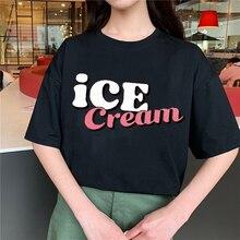 Женская футболка с коротким рукавом круглым вырезом и принтом