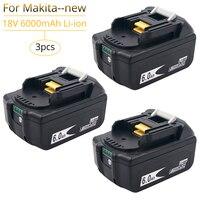 3 pçs/lote 18V 6.0Ah Bateria para Makita BL1850B BL1860B BL1840 Furadeiras sem fio com Monitor de uma Única Célula De Lítio Recarregável