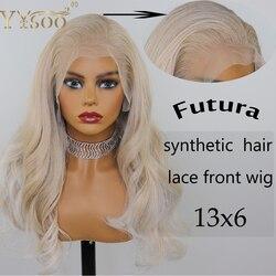 YYsoo Lange Blonde Highlight 13x6 Futura Spitze Front Synthetische Perücken Für Frauen Pre Gezupft Halb Hand Gebunden Wellenförmige perücke Natürlichen Haaransatz