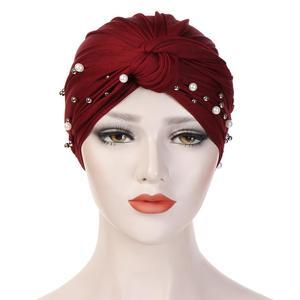 Image 5 - Muslim Women Beads Elastic Turban Hat Chemo Cap Hijab Arab Head Scarf Wrap Cover Beading Headscarf Knot Pleated Cap Hair Loss